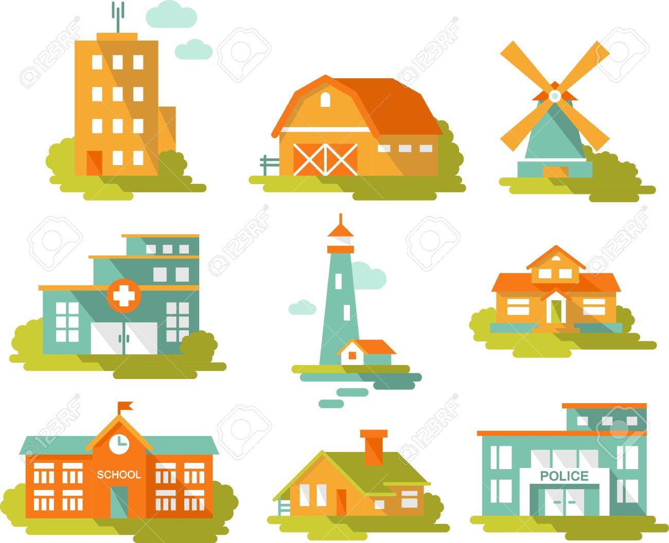 bienes inmuebles y edificios gubernamentales iconos de estilo ... - Bienes Inmuebles Dibujos