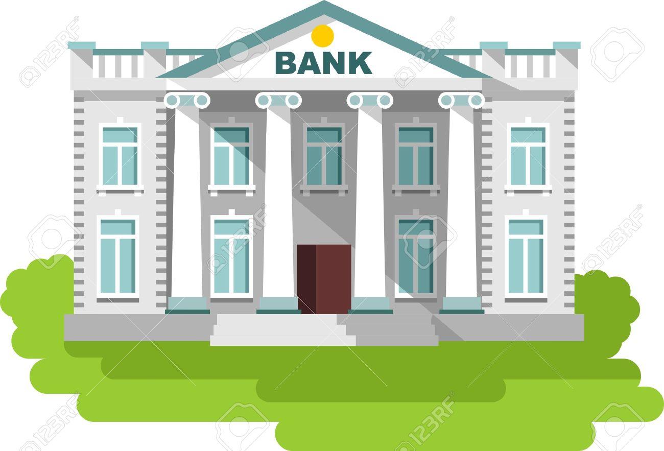 銀行の白い背景の建物の詳細なイラストのイラスト素材ベクタ Image