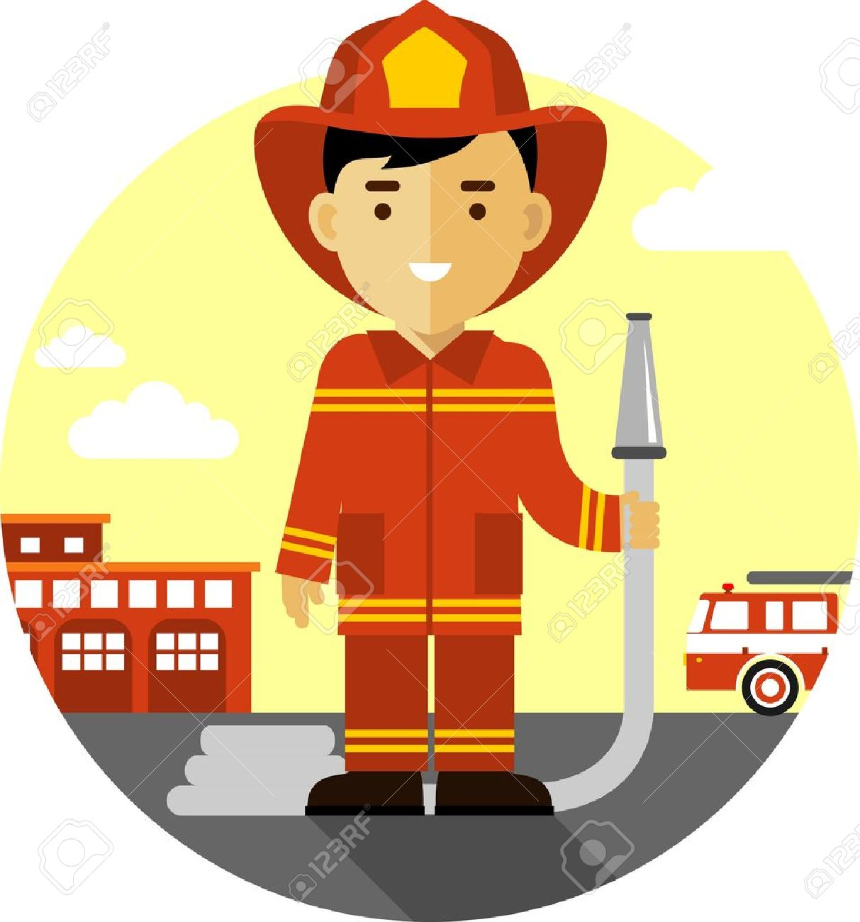 6850 fire department cliparts stock vector and royalty free fire firefighter in uniform on background with fire truck and fire station illustration buycottarizona Choice Image