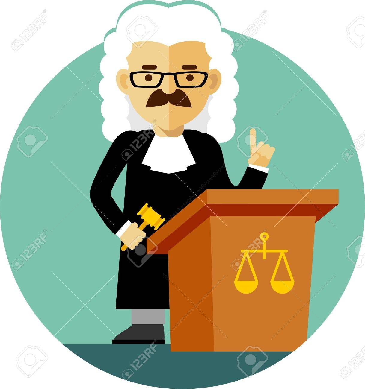 Judge Concept In A Wig And Gown With A Gavel Royalty Free Cliparts ...