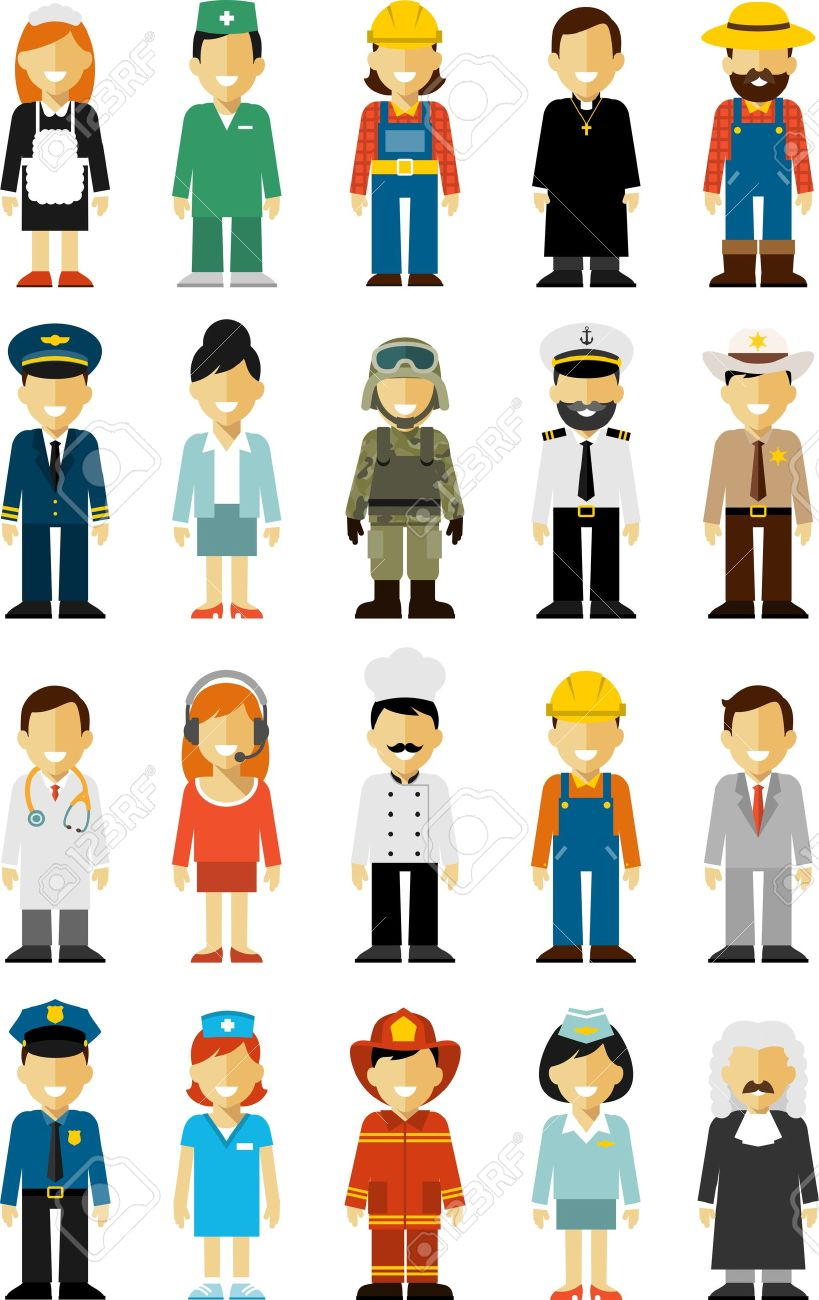 different people professions characters isolated on white background rh 123rf com different careers clipart