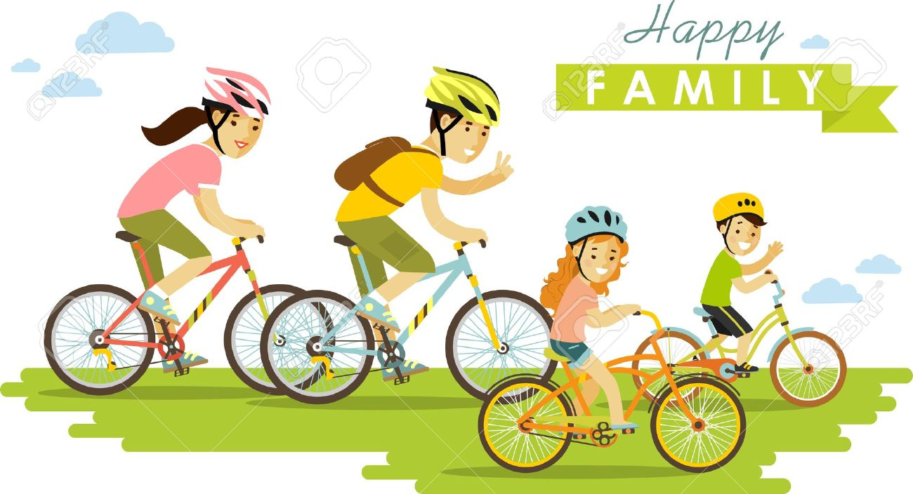Family on bikes father, mother and kids - 40176361