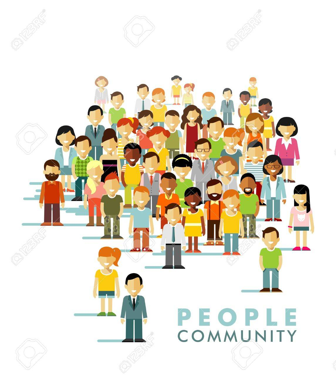 Group of different people in community isolated on white background Stock Vector - 49255200