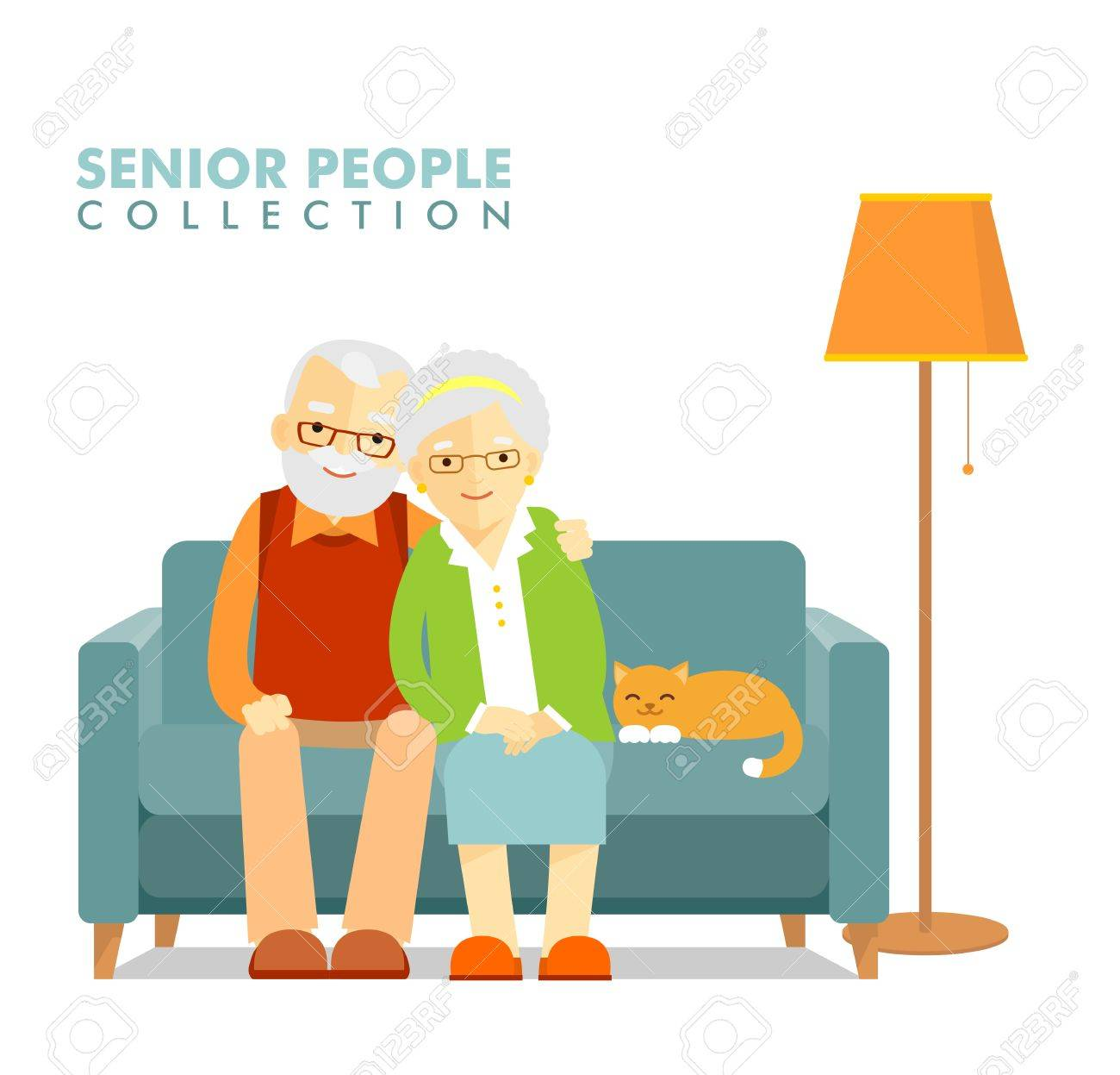 Happy senior man woman family sitting on the sofa and rest - 49255364