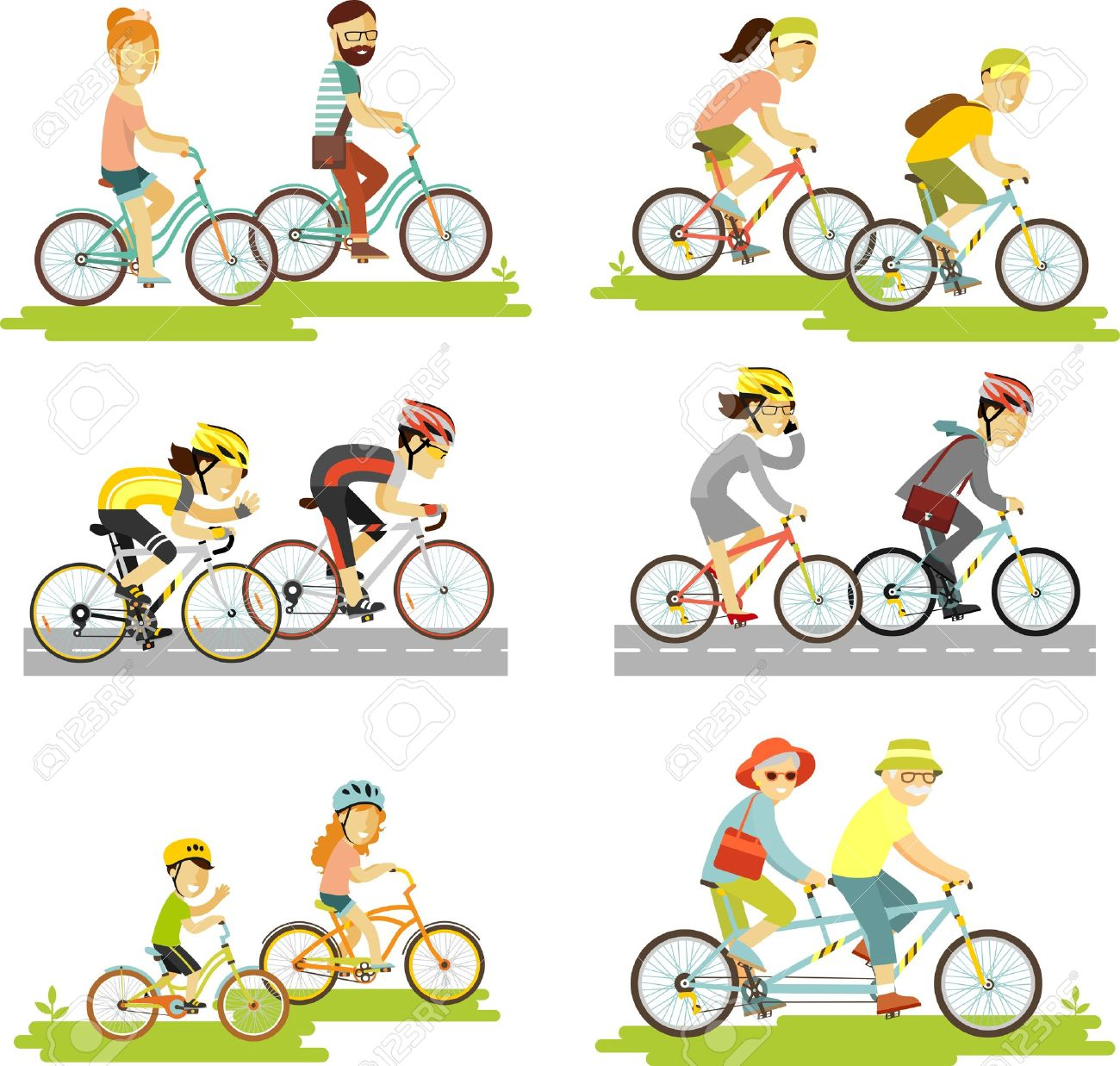 Cyclist man, woman, children, hipster, older, racing cyclist on bike and tandem - 50995867