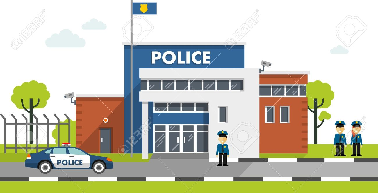 City police department building in landscape with policeman and police car in flat style - 50996032