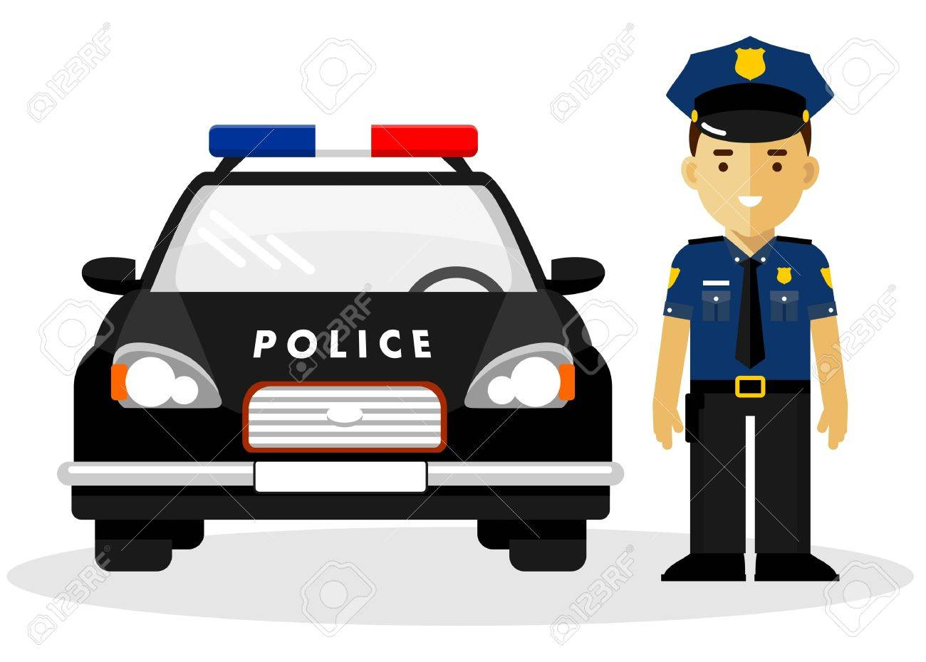 policeman officer on city background with police car in flat rh 123rf com clip art police badge clipart police man uk only