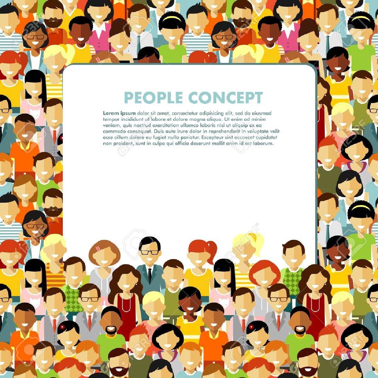 Group of different people in community and banner with empty space for your text - 51028577
