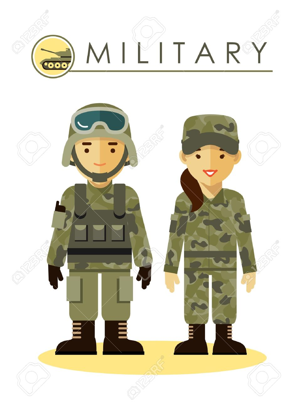 Soldier man and woman in camouflage uniform isolated on white background in flat style - 51028614