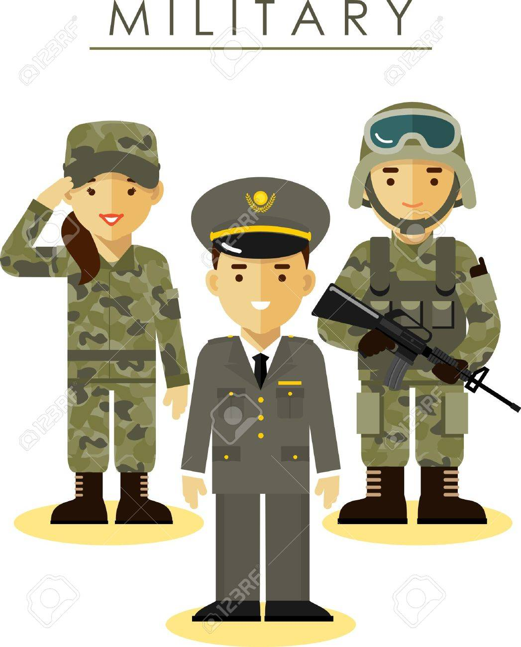 Soldier and officer man and woman in camouflage uniform in flat style - 51028656