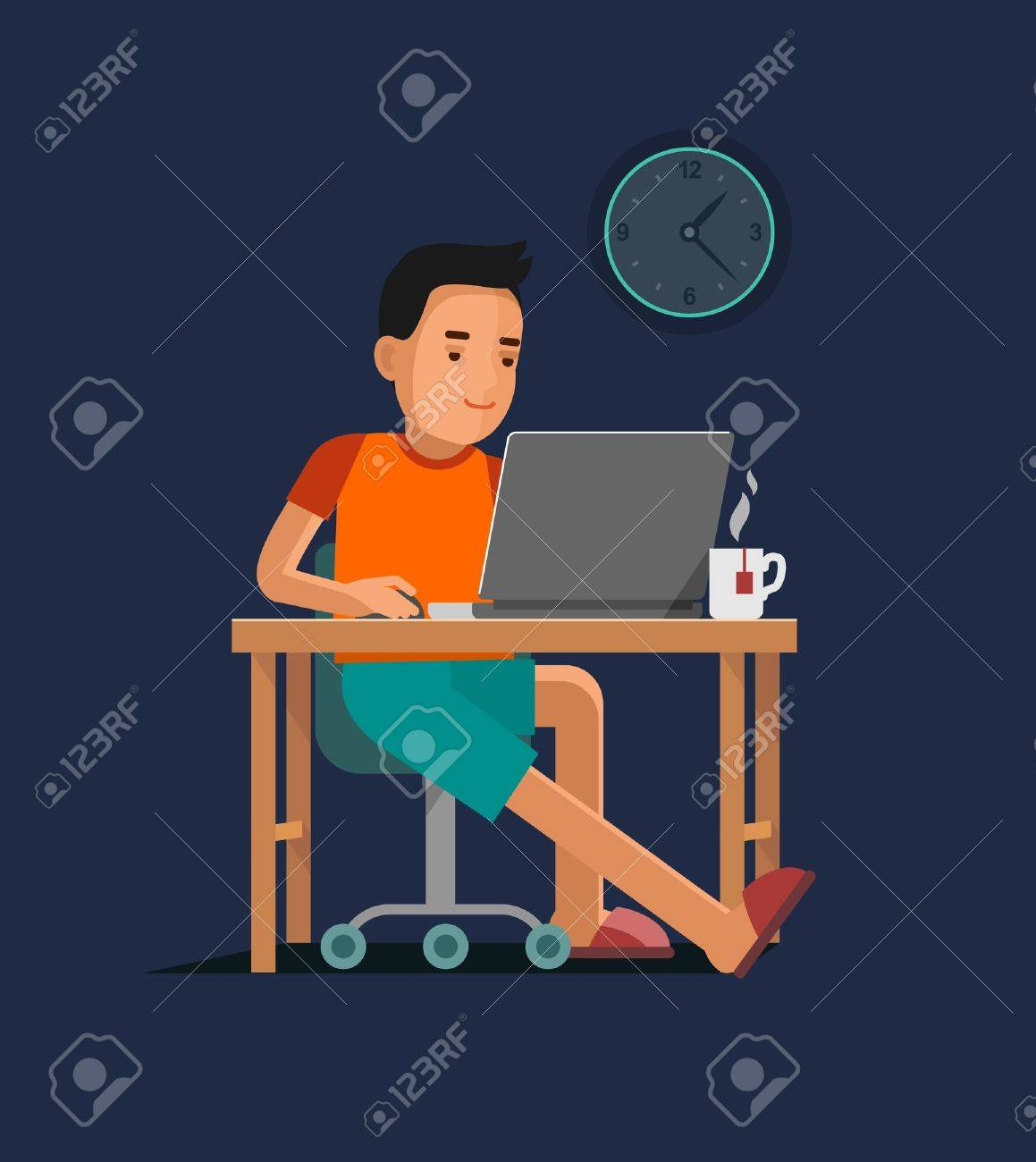 Young man sitting at the computer desk with laptop and working - 55860633