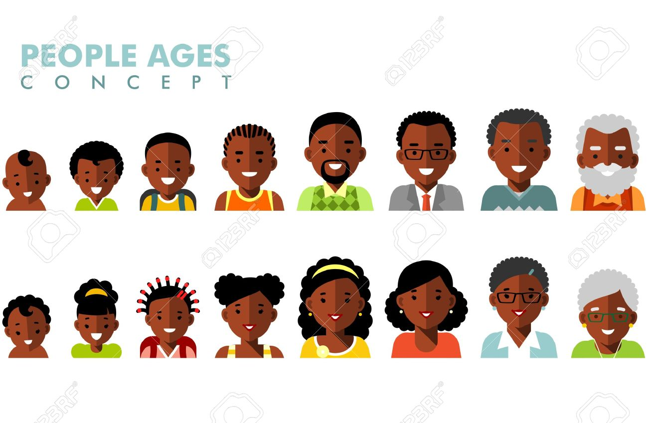 Man and woman african american ethnic aging icons - baby, child, teenager, young, adult, old - 55845417