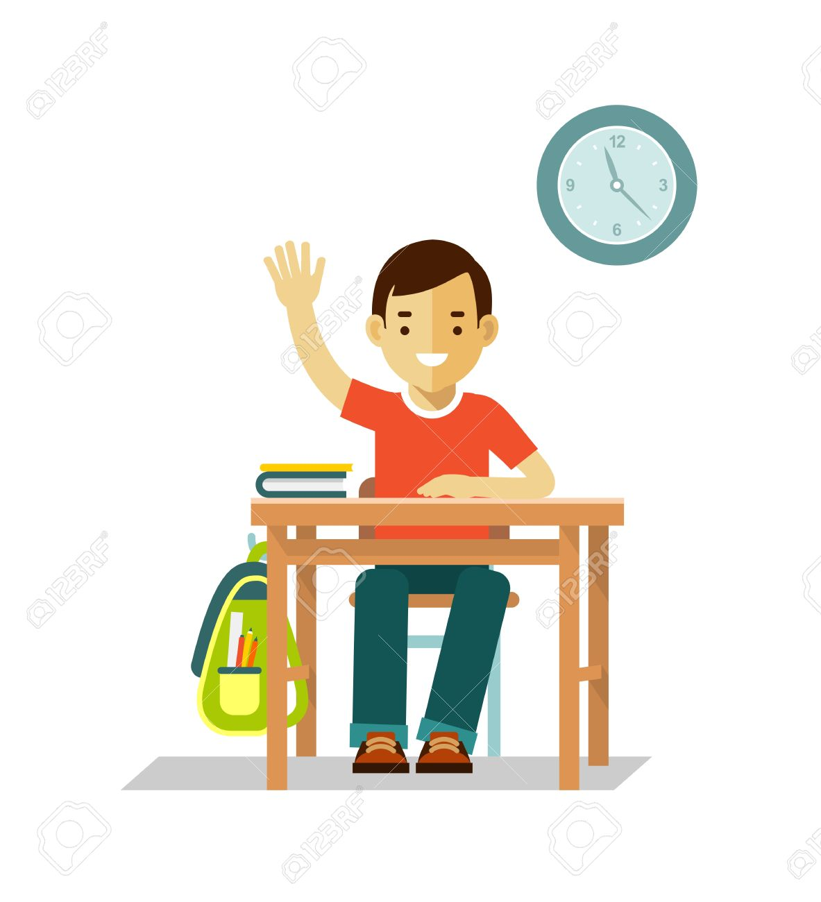 student boy sit at desk in classroom isolated on white background rh 123rf com Student Sitting at Desk with Head Down Clip Art Student Sitting at Desk Doing a Puzzle Clip Art