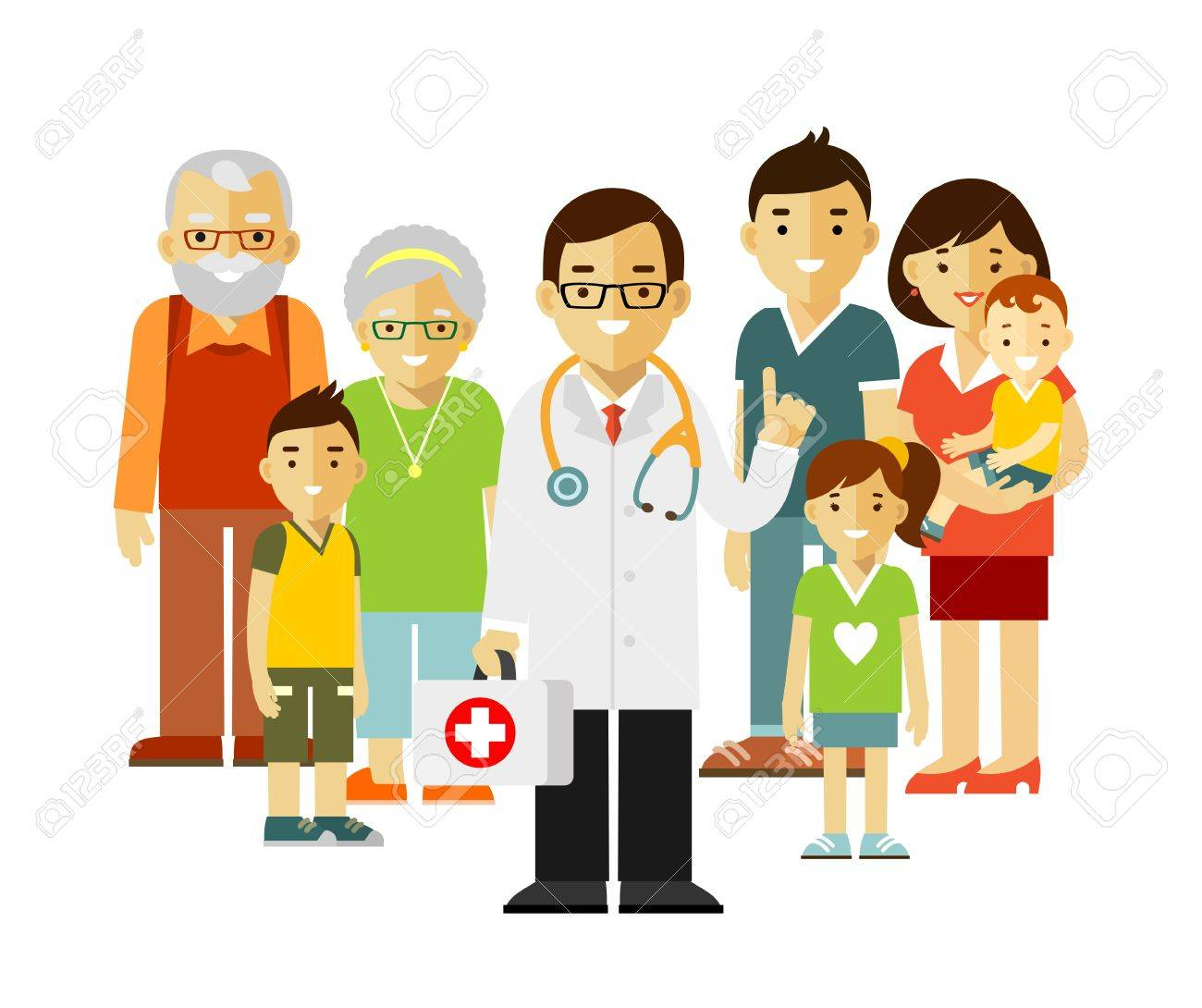 Doctor standing together with father, mother, children and grandparents. - 66072083
