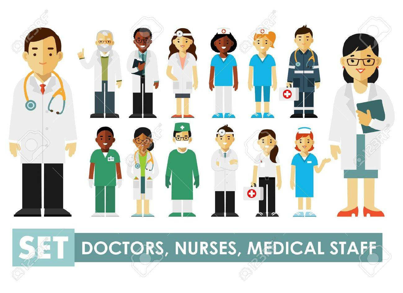 Practitioner young doctors man and woman standing. Medical staff. - 66072084