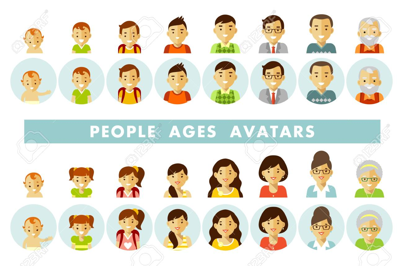 Set of people avatars at different ages vector illustration - 98603950