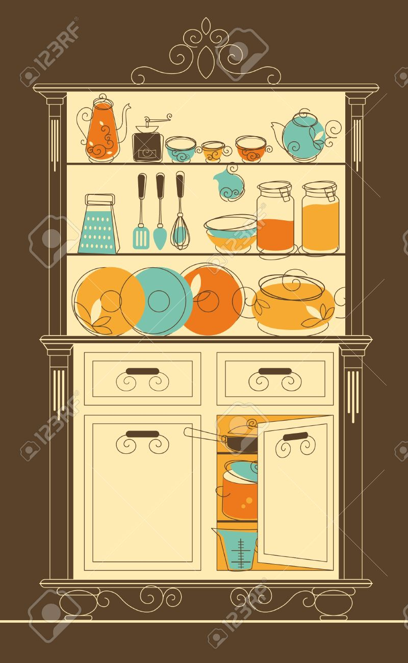 Cartoon kitchen with cabinets and window vector art illustration - Kitchen Cabinet Vector Illustration Kitchen Cupboard In Old Fashion Style