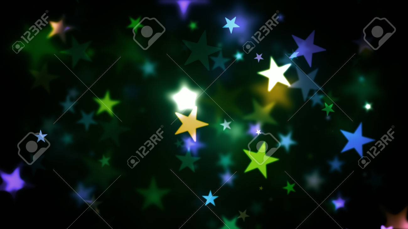 Abstract Background Colorful Stars Generating Cool Bokeh Light