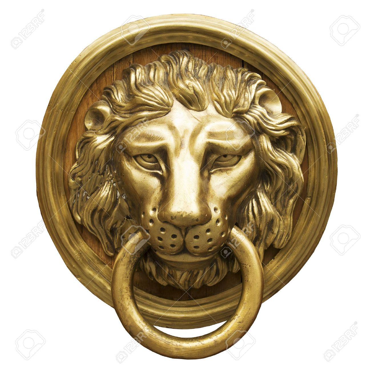 Charmant Lion Head Door Knocker, Ancient Knocker Stock Photo   15168158