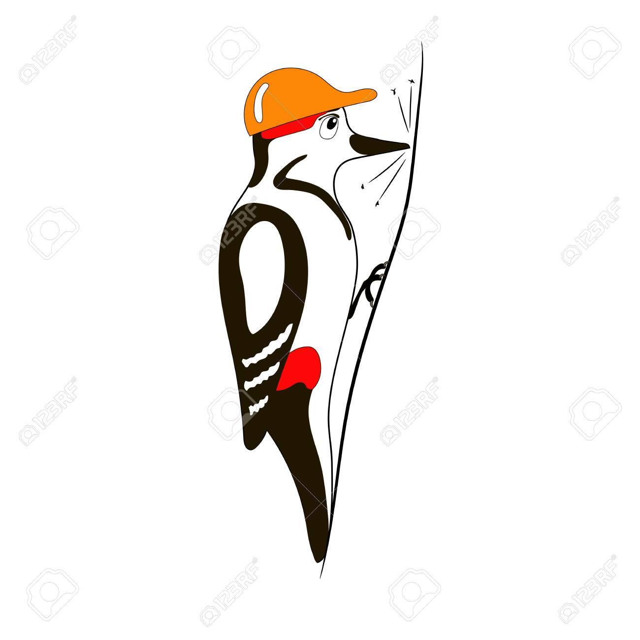 Ilustración De Dibujos Animados Del Vector Del Pájaro Carpintero En