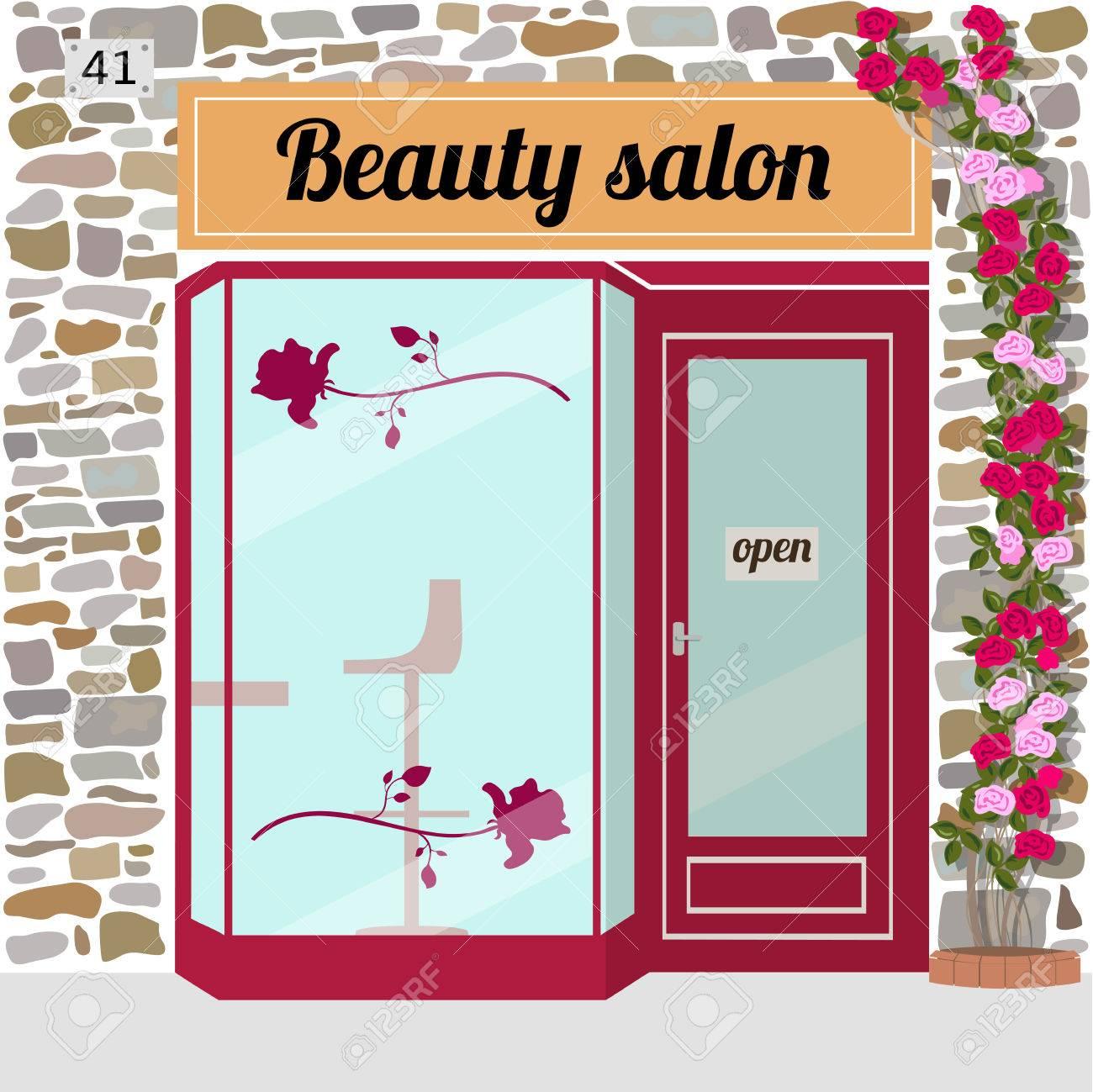 Beauty Salon Building Facade Vector Illustration Stock