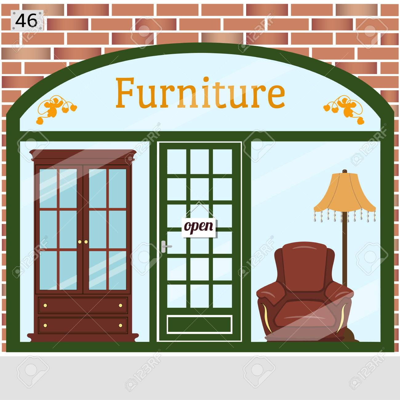 Cute Vector Illustration Of Furniture Shop With A Brick Wall, Large Window  Display Showcasing Various
