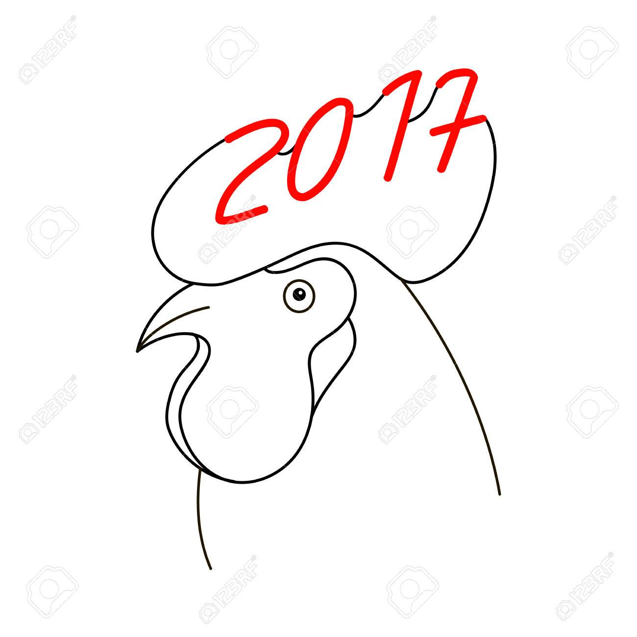 Rooster 2017 Vector Symbol New Year Symbol Of Rooster Chinese