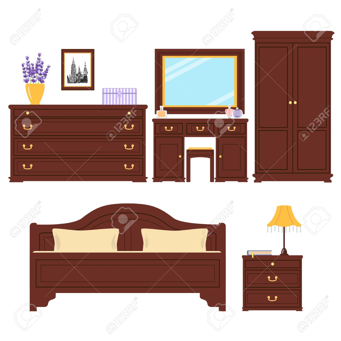 Completo di mobili per camera da letto. camera da letto carino. Per la  pubblicità, immagine immobiliare, negozio di arredamento. Letto, foto, ...