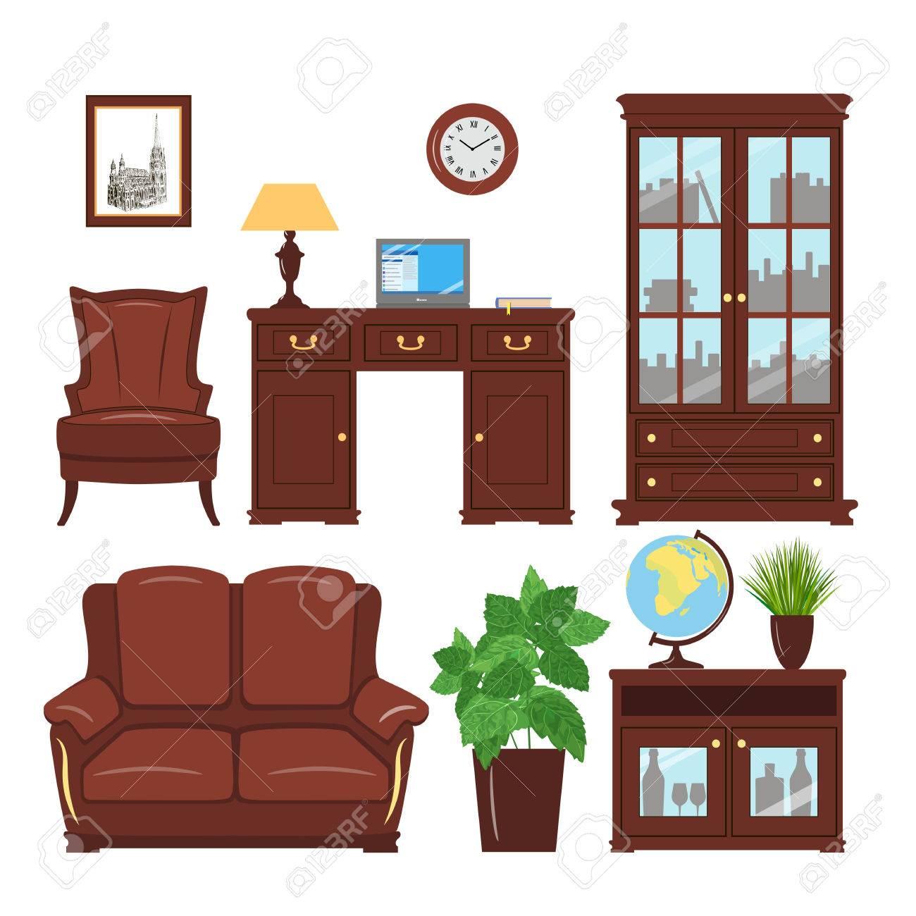 Conjunto De Clásicos Elementos De Mobiliario De Oficina En Casa Para ...