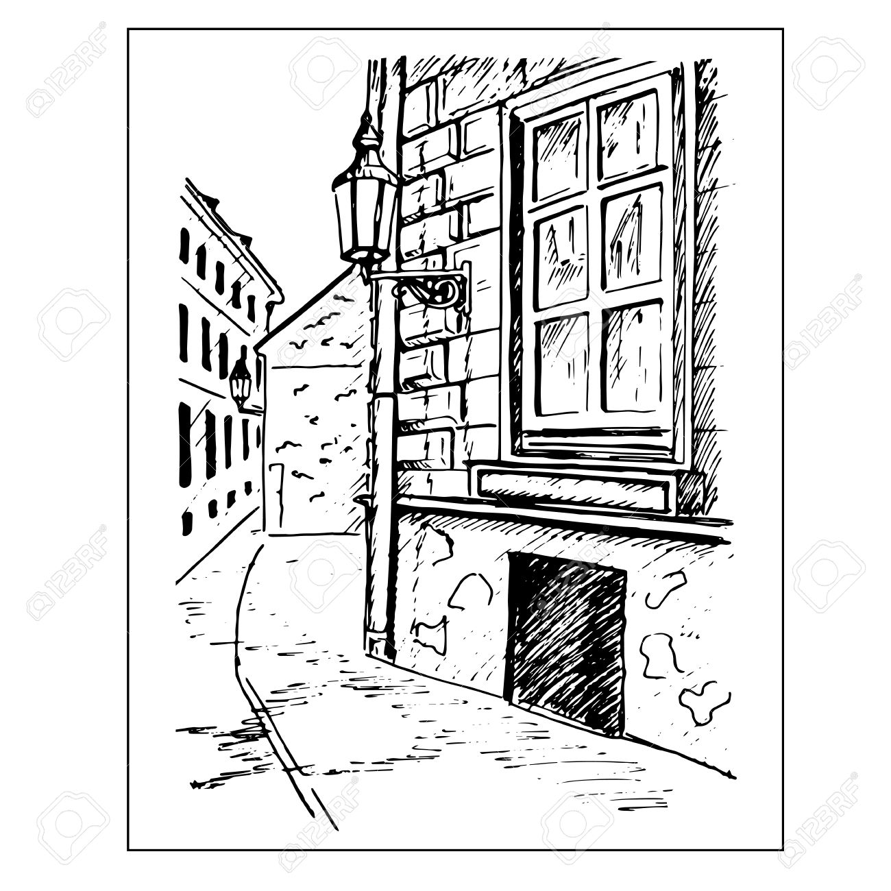 Old Town Street Window And Lantern Hand Drawn Sketch Vector Stock