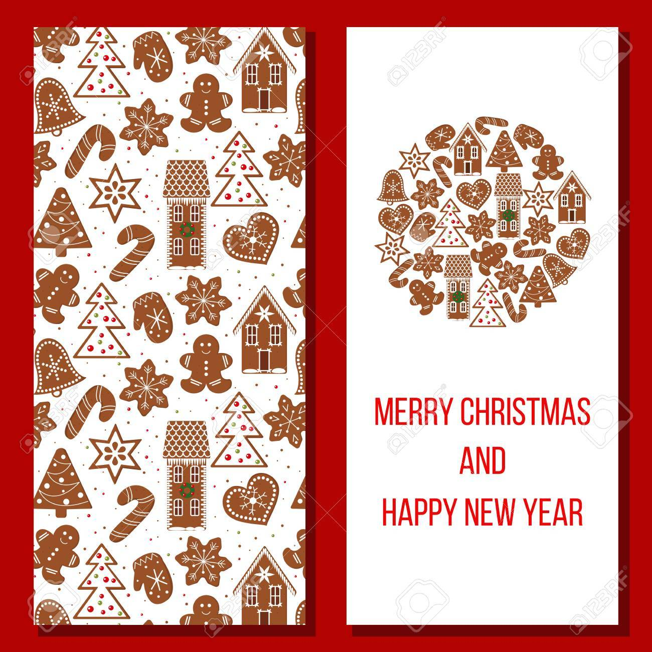Gingerbread christmas and happy new year greetings set with funny gingerbread christmas and happy new year greetings set with funny figures xmas tree snowflakes m4hsunfo