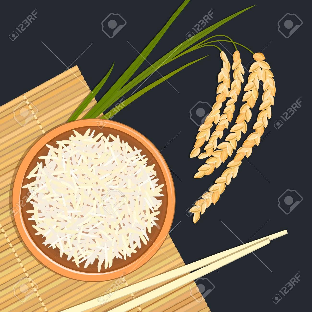 Riso In Ciotola Di Ceramica Con Bacchette. Stuoia Di Bambù Da Cucina ...
