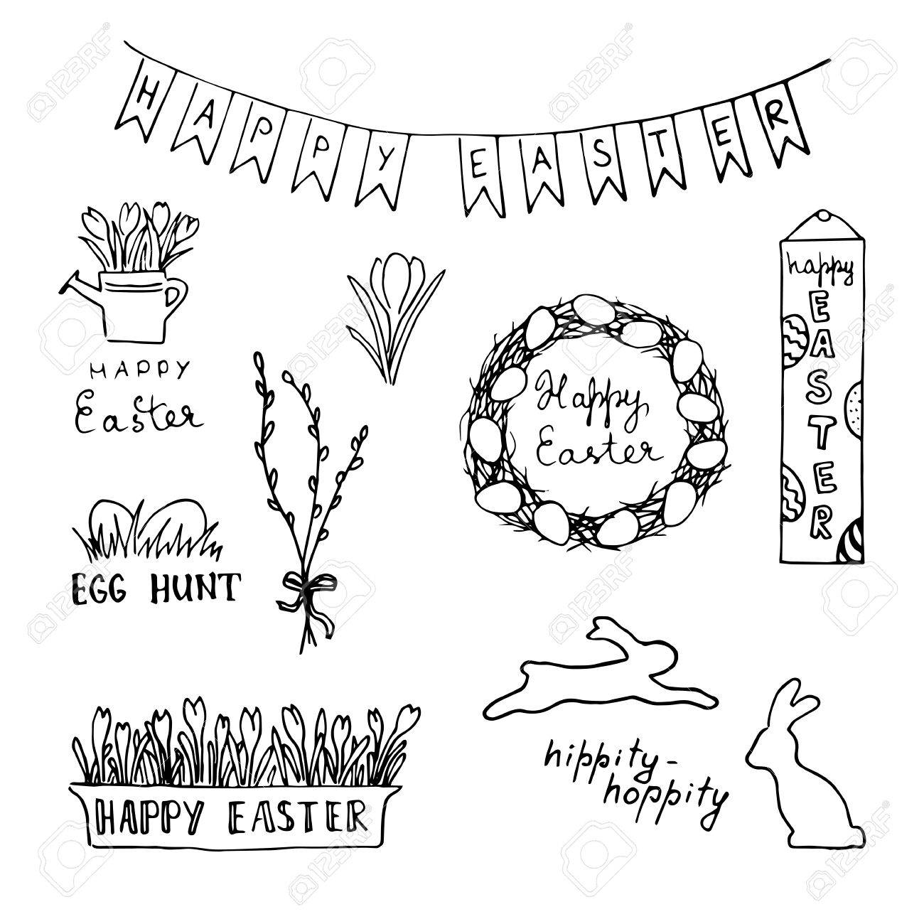 Happy Easter Card With Eggs Rabbits Flowers Lettering Wreath Royalty Free Cliparts Vectors And Stock Illustration Image 73106752