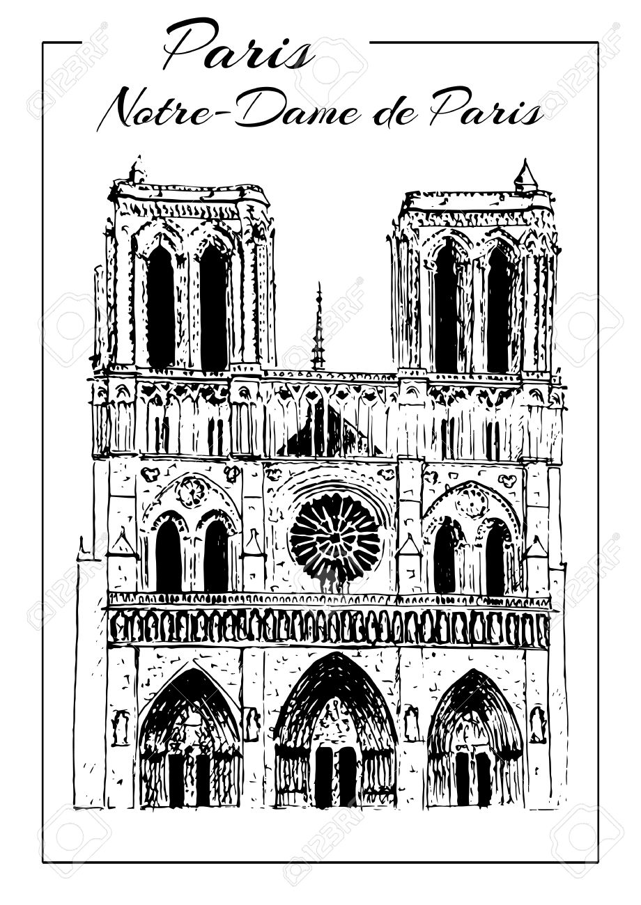 Notre Dame De Paris Disegno.Notre Dame De Paris Cathedral France Hand Drawing Sketch Vector