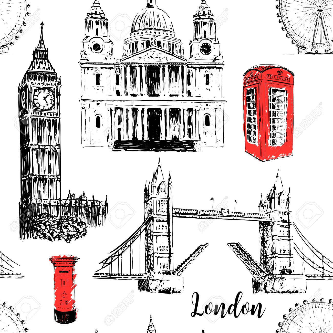 Symboles Architecturaux De Londres Cathédrale Saint Paul Big Ben Et Tower Bridge Oeil De Londres Beau Dessin Dessiné à La Main Modèle Sans