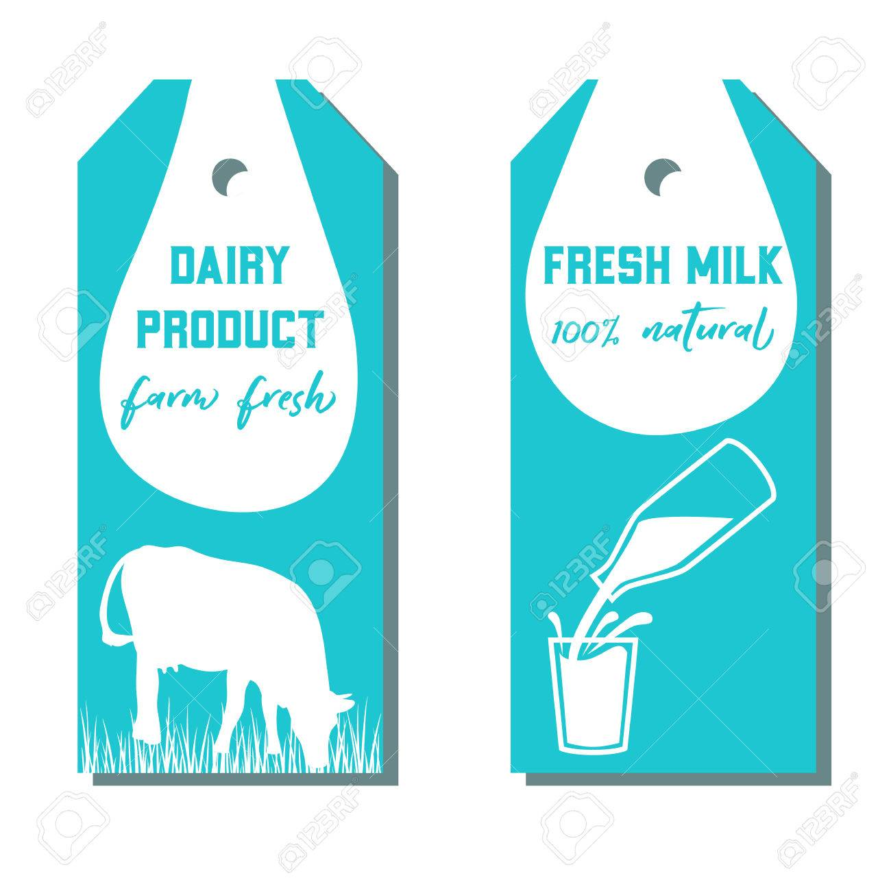 Set of two tags with milk symbol cow milk pouring from a bottle set of two tags with milk symbol cow milk pouring from a bottle in buycottarizona