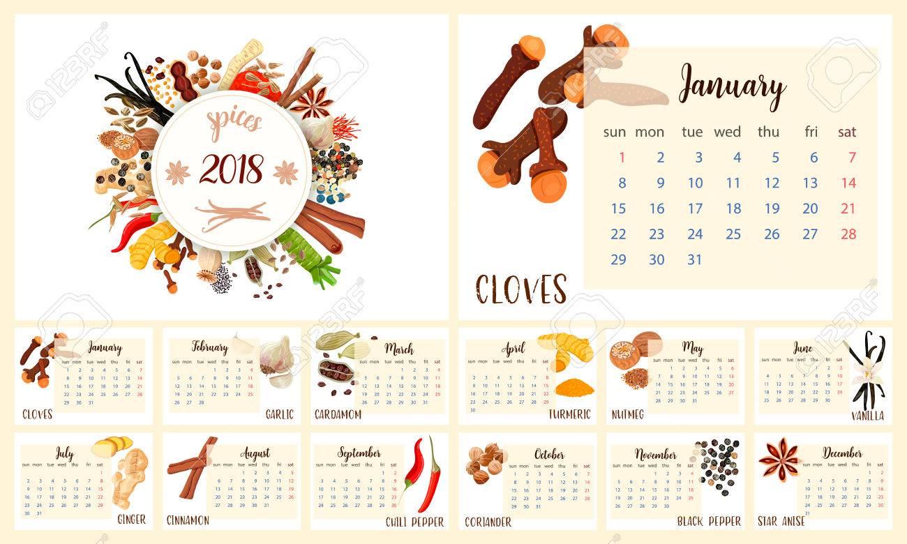 diseño 2018 del planificador del calendario especias culinarias