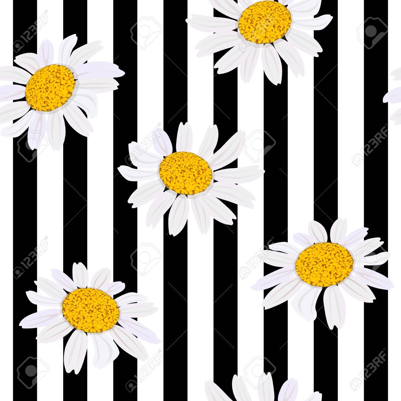Daisy Flowers Seamless Pattern Vector Illustration Design