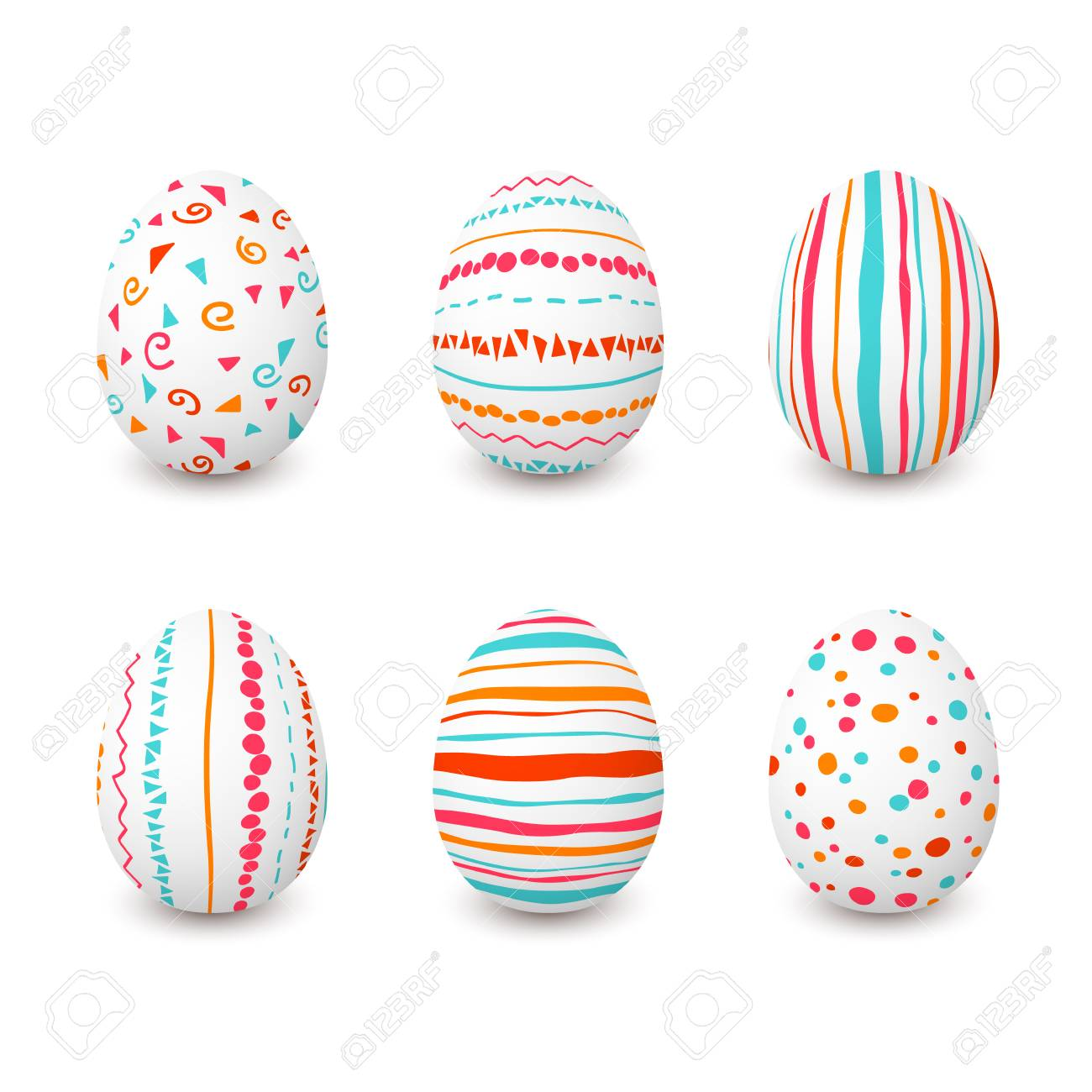 27f50a9367a51c Set Of White Easter Eggs With Simple Pink