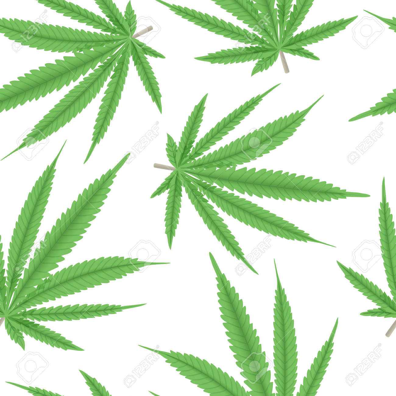 Cannabis green leaf seamless pattern vector illustration. Hemp plant. For medicine, textile, clothing, cordage, fibre, - 156602247