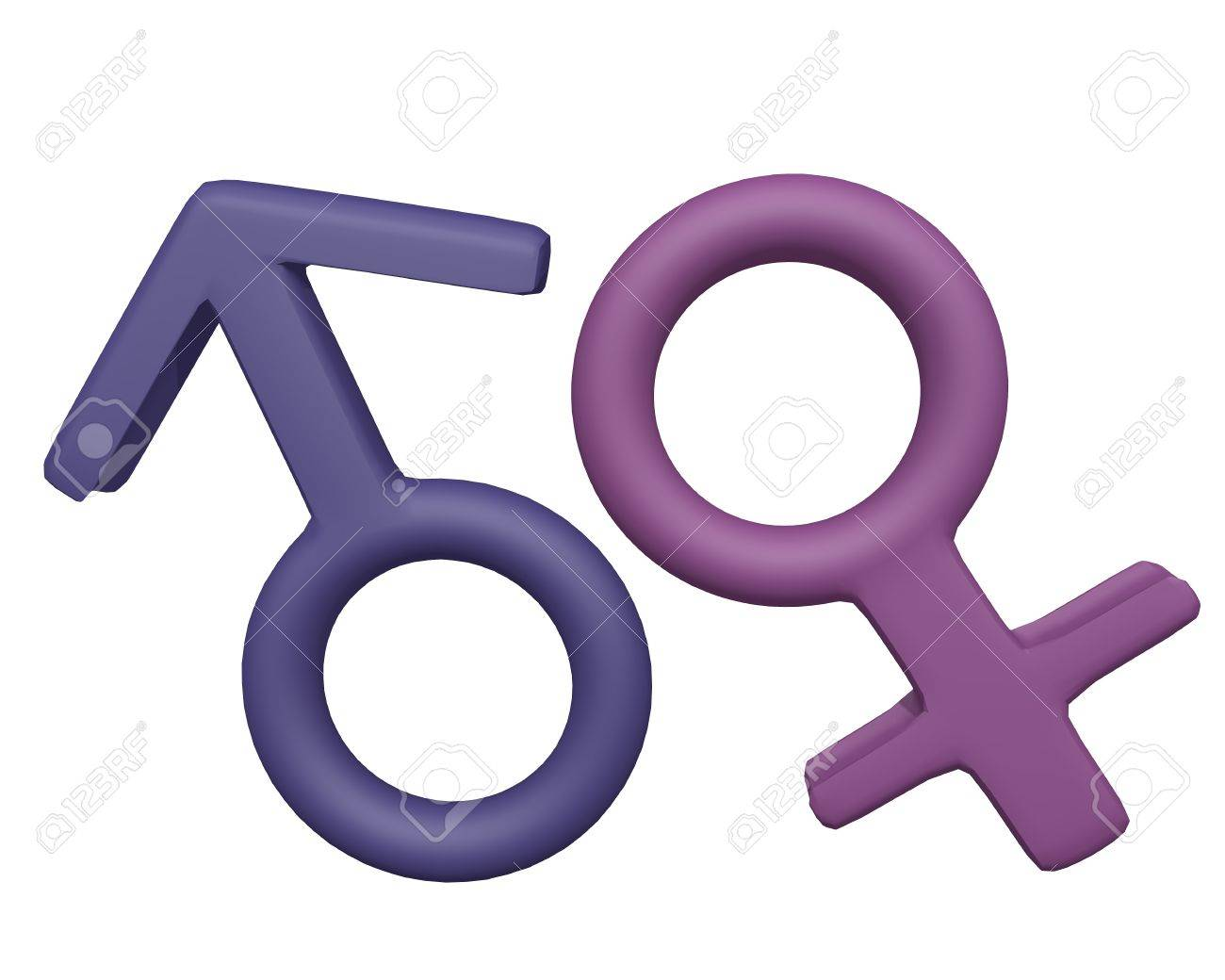 Male and Female Symbols 3d render on white background Stock Photo - 13376128
