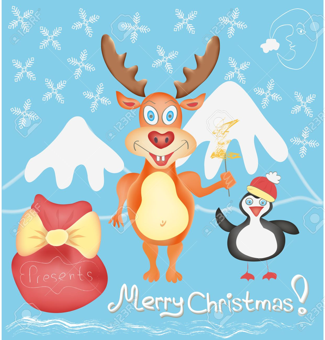 Merry christmas greeting card with deer and penguin cute cartoon merry christmas greeting card with deer and penguin cute cartoon characters with snowflakes and presents bag kristyandbryce Gallery