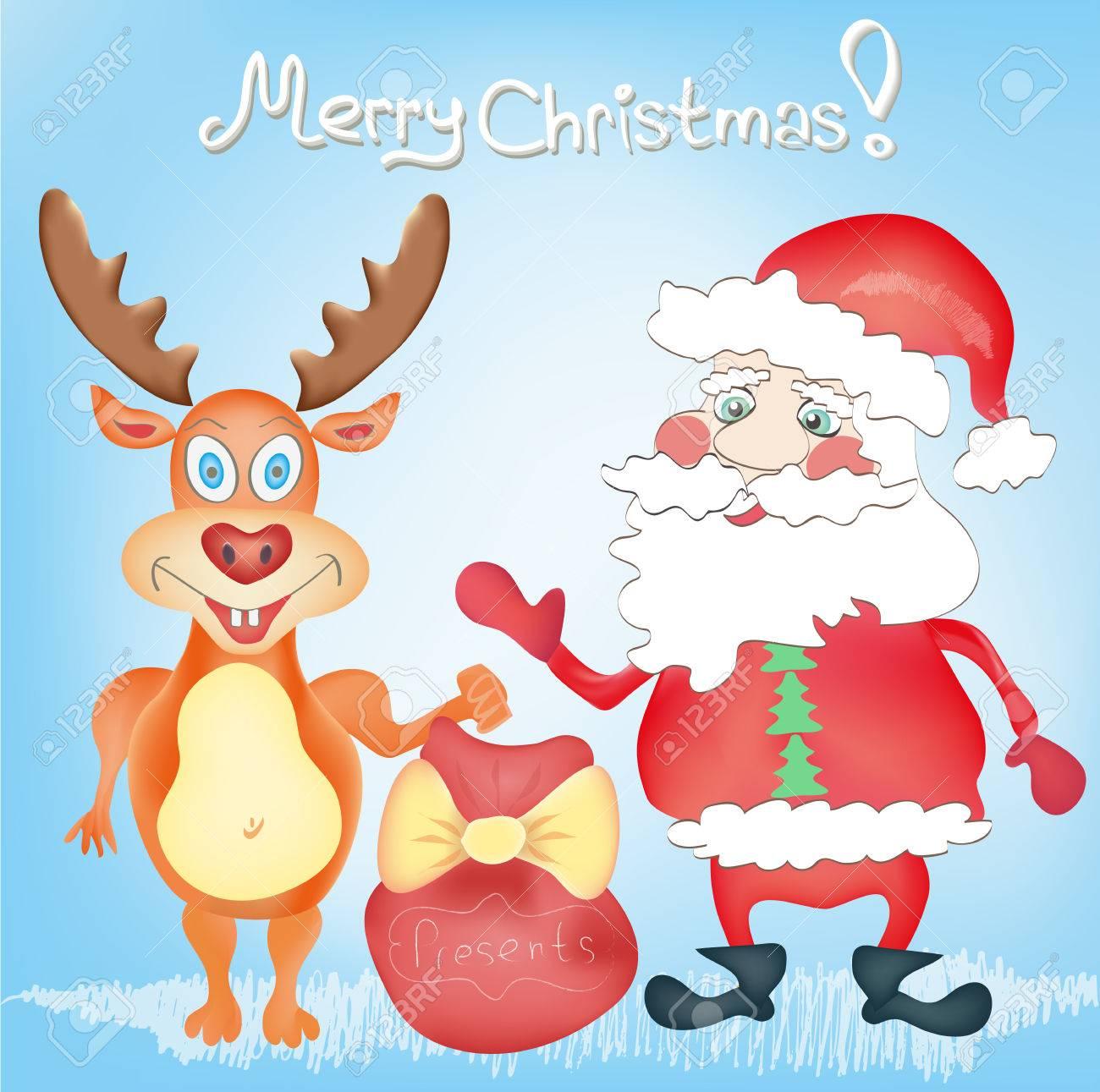Frohe Weihnachten Feiertag Grußkarte Mit Deer Und Santa Claus ...