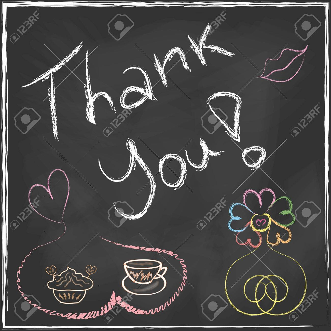 Thank You Lettering Message handwriting on blackboard with set of abstract flower and coffee cup with cake in vector Stock Vector - 23901178