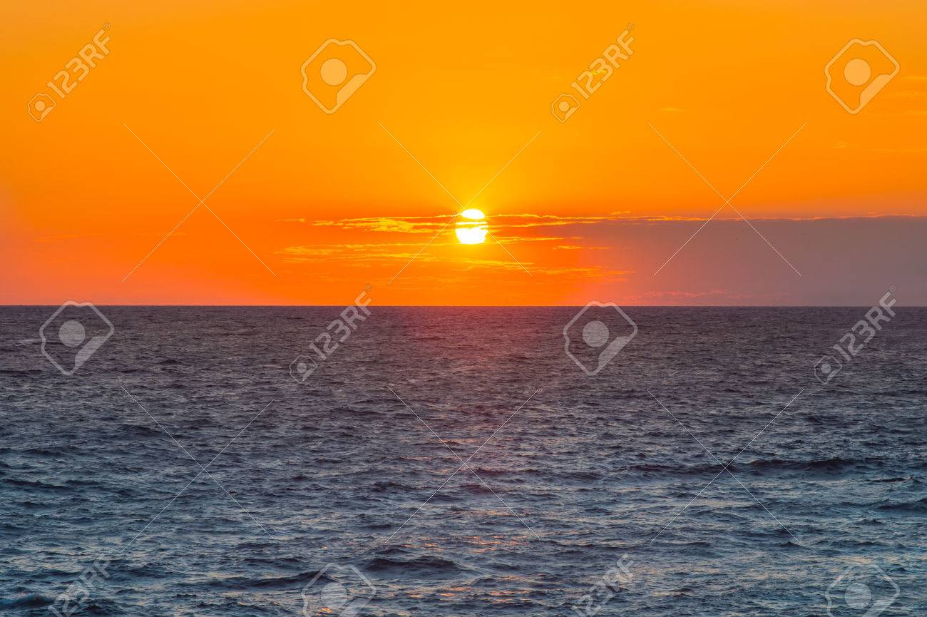 Sunset Sky And Sea Beautiful Scenery Background With Natural Stock