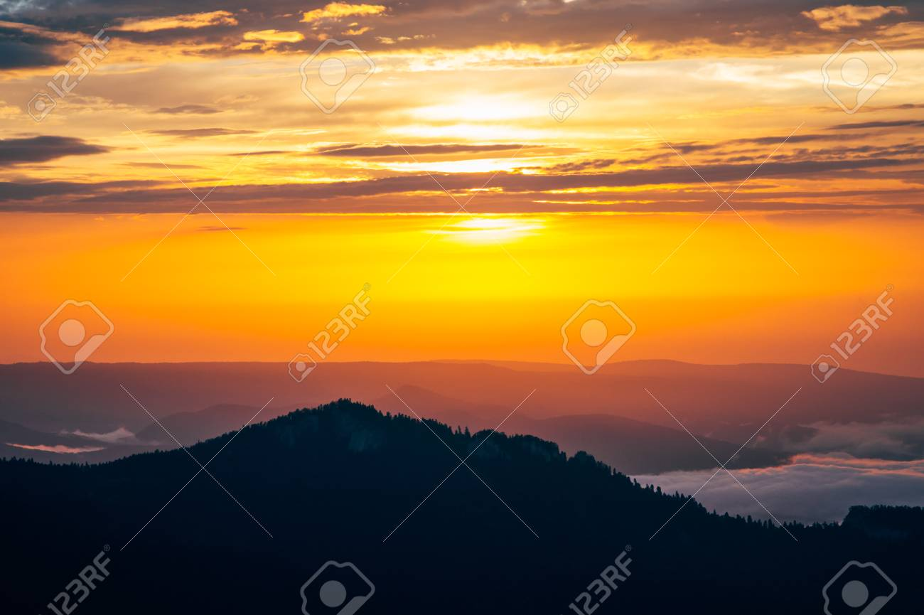 Background Of Sunset Sky And Mountains Clouds Beautiful Scenery With Natural Colors Landscape Travel Concept Aerial