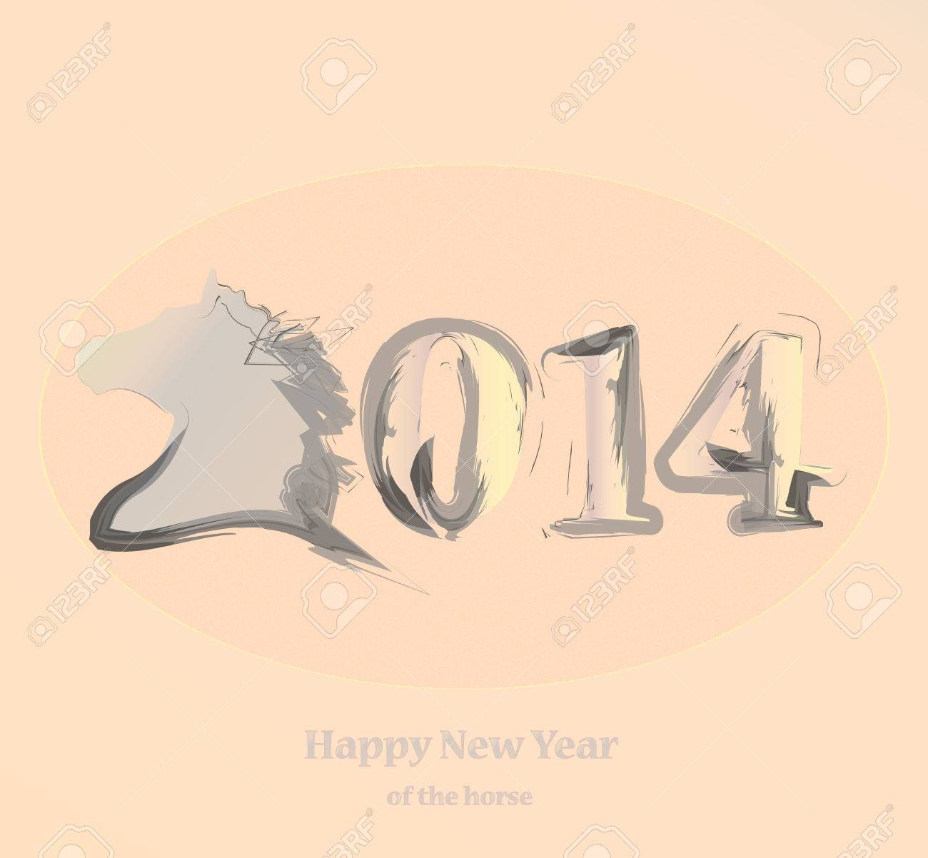 Handwriting horse symbol of new year 2014 greeting card vector handwriting horse symbol of new year 2014 greeting card vector stok fotoraf 23019661 m4hsunfo