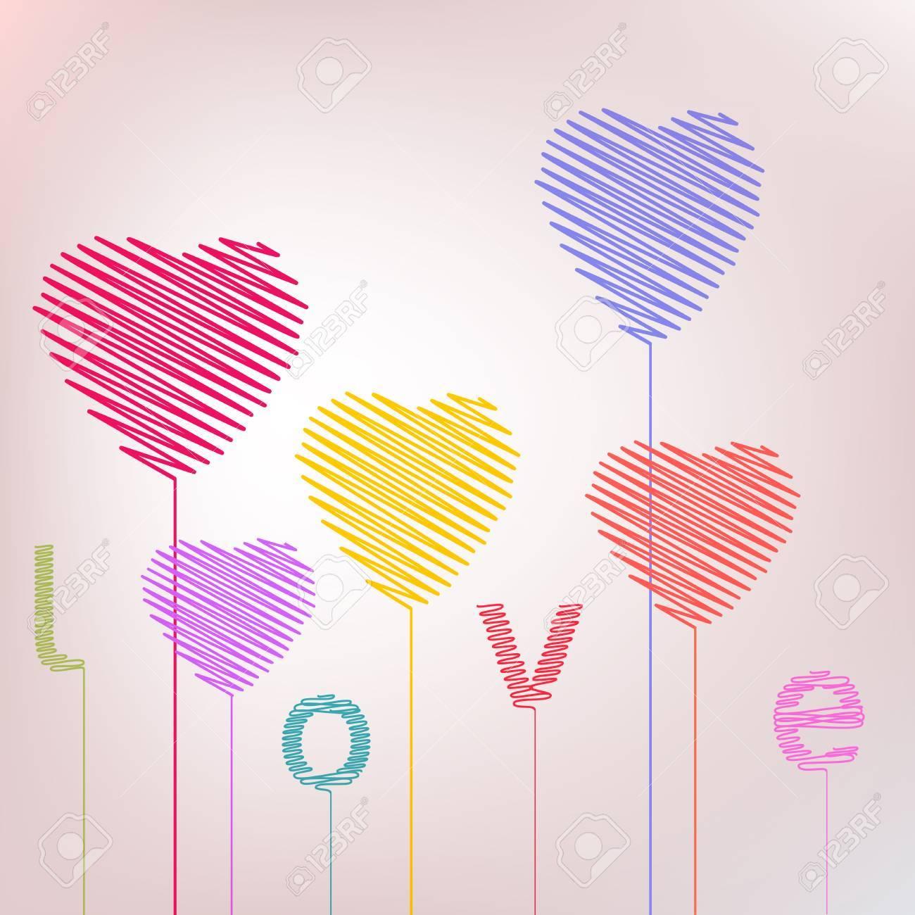 Ballons De Coeur D Amour De Dessin à La Main Résumé Saint Valentin Carte De Voeux Couleurs à La Mode Romantique Concept De Relation Dans Le Vecteur