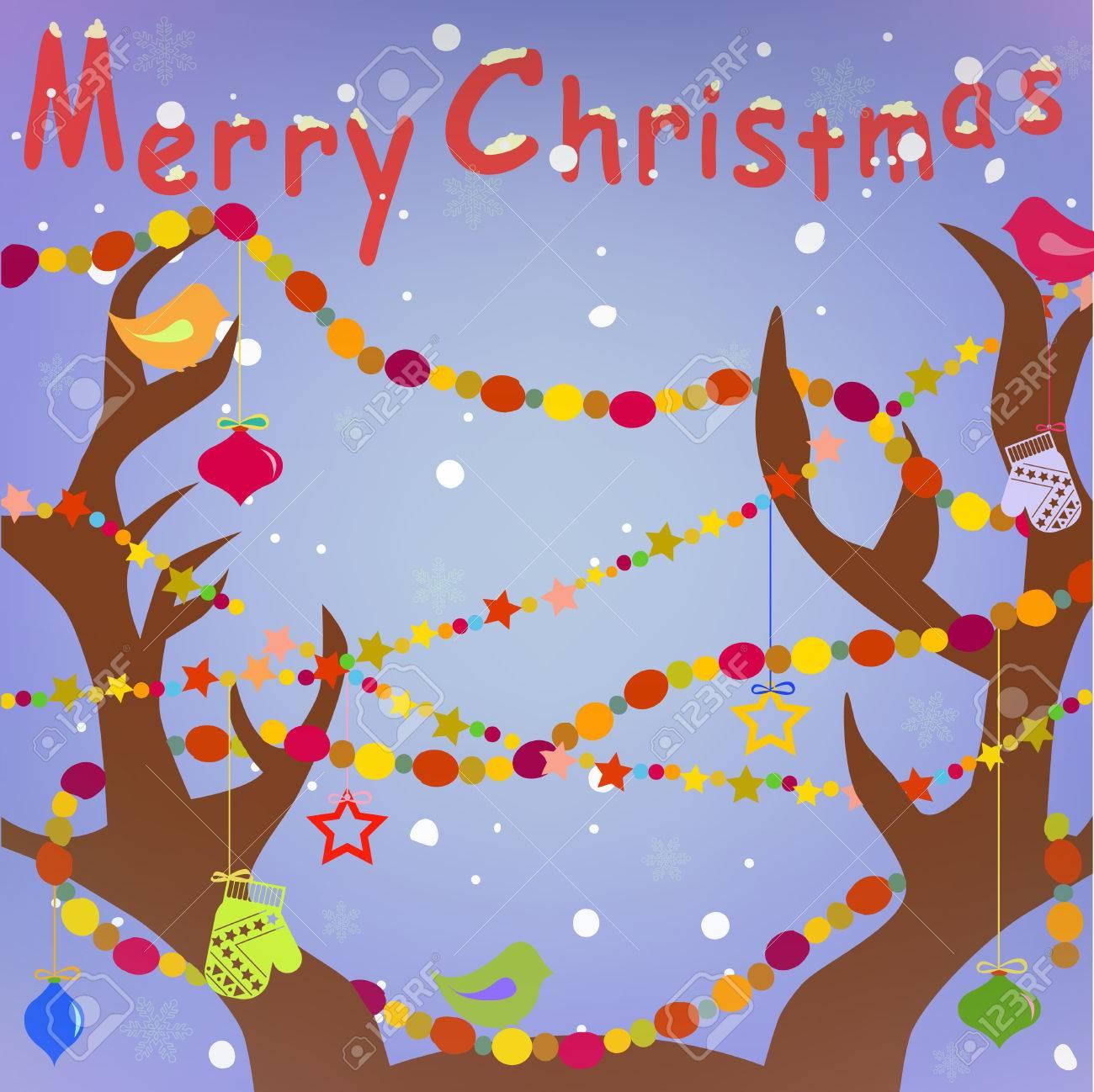Frohe Weihnachten Grußkarte Mit Hirschgeweih Und Urlaub Dekoration ...