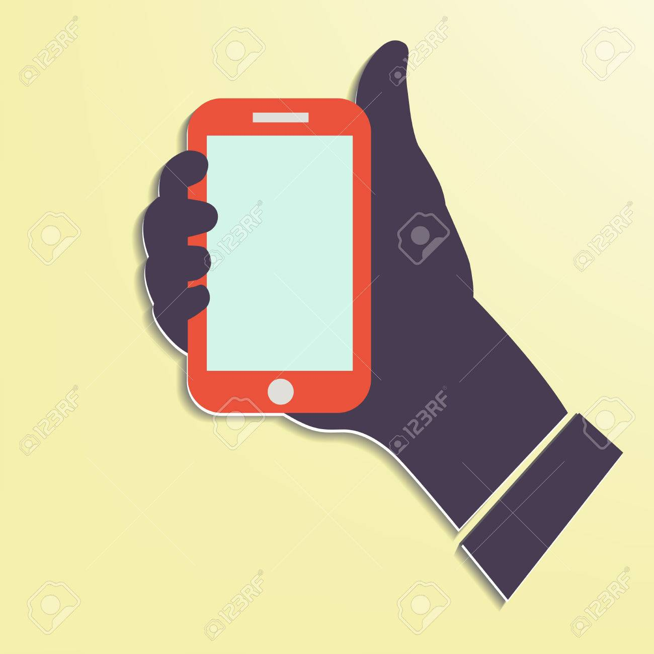 Hand holding Smart phone showing screen New Technology concept trendy style flat design in vector Stock Vector - 24192645